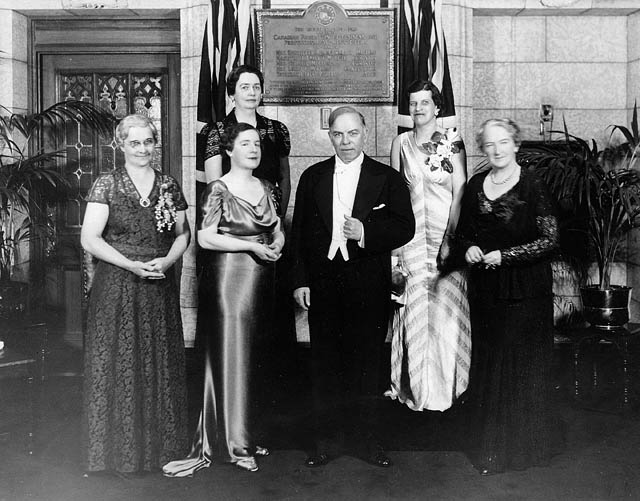 The Famous Five with Prime Minister William Lyon Mackensie King.